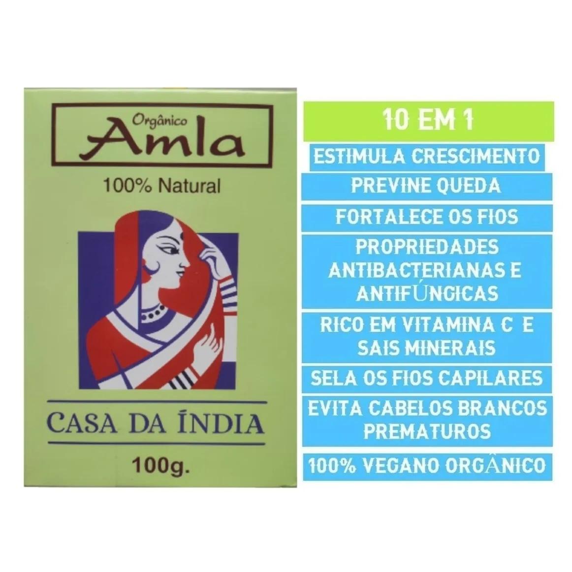 Combo 3 Tratamento Amla Indiana Pó 100% Natural 100g Para Cabelo Casa Da Índia