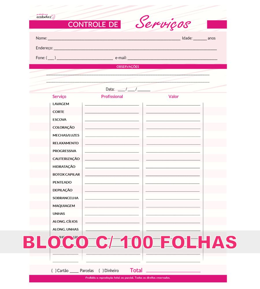 Controle de Serviços Salão de Beleza Ficha de Atendimentos Bloco 100 Folhas