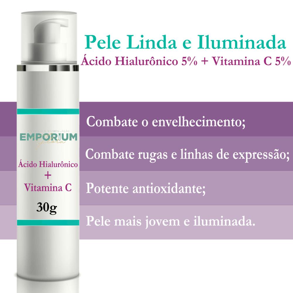 Creme Ácido Hialurônico + Vitamina C Pele Jovem e Iluminada - 30g