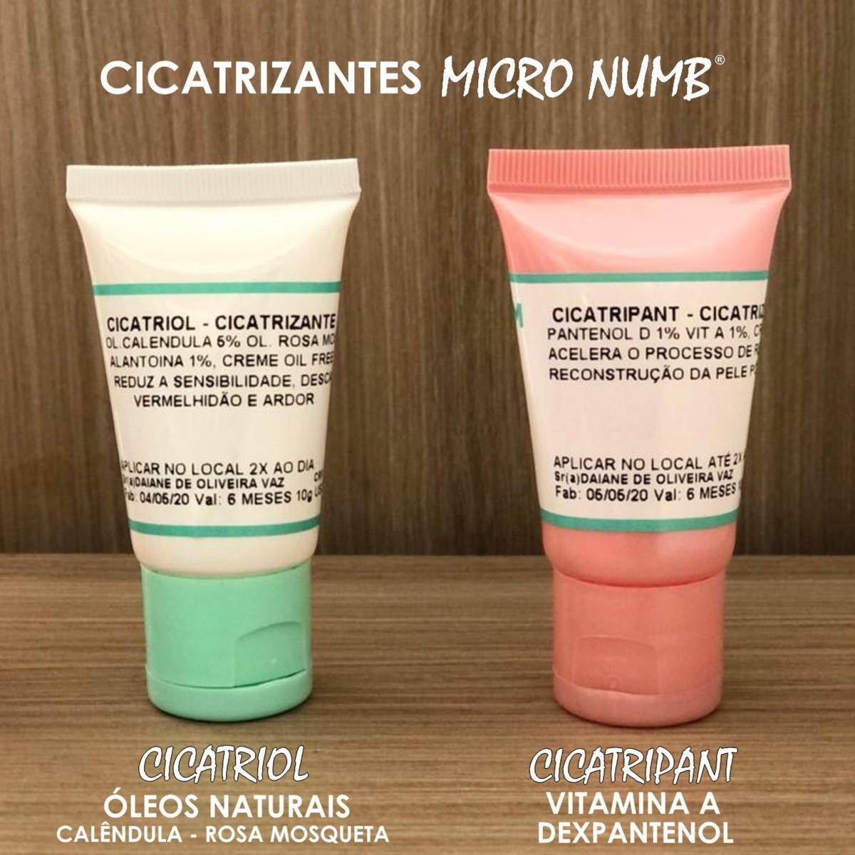 Creme Cicatrizante Óleos Naturais Pós Procedimento Micropigmentação Microblading CICATRIOL Micro Numb - 10g