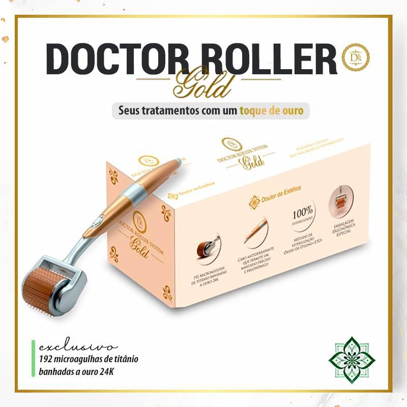Dermaroller Doctor Roller System Gold Rolo Microagulhamento Ouro 24K 192 Agulhas