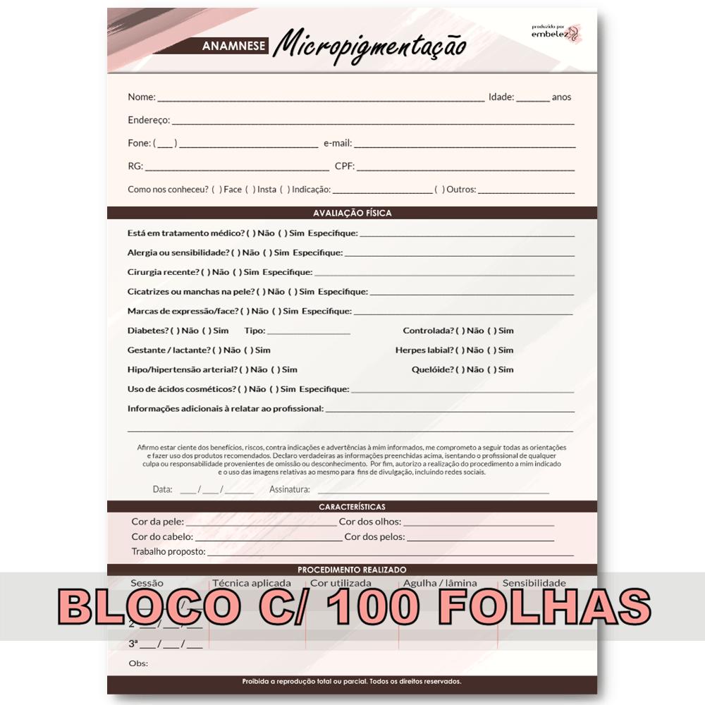 Ficha 2.0 Anamnese Micropigmentação Microblading Bloco 100 Folhas