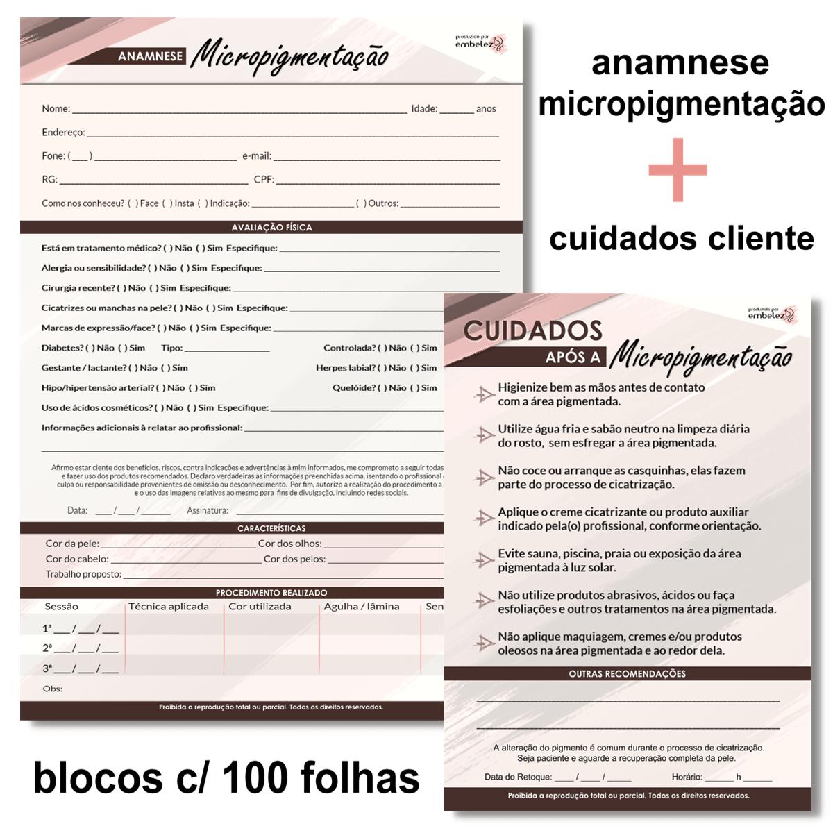 Ficha Anamnese Micropigmentação + Cuidados Cliente - 100 Folhas - MARROM