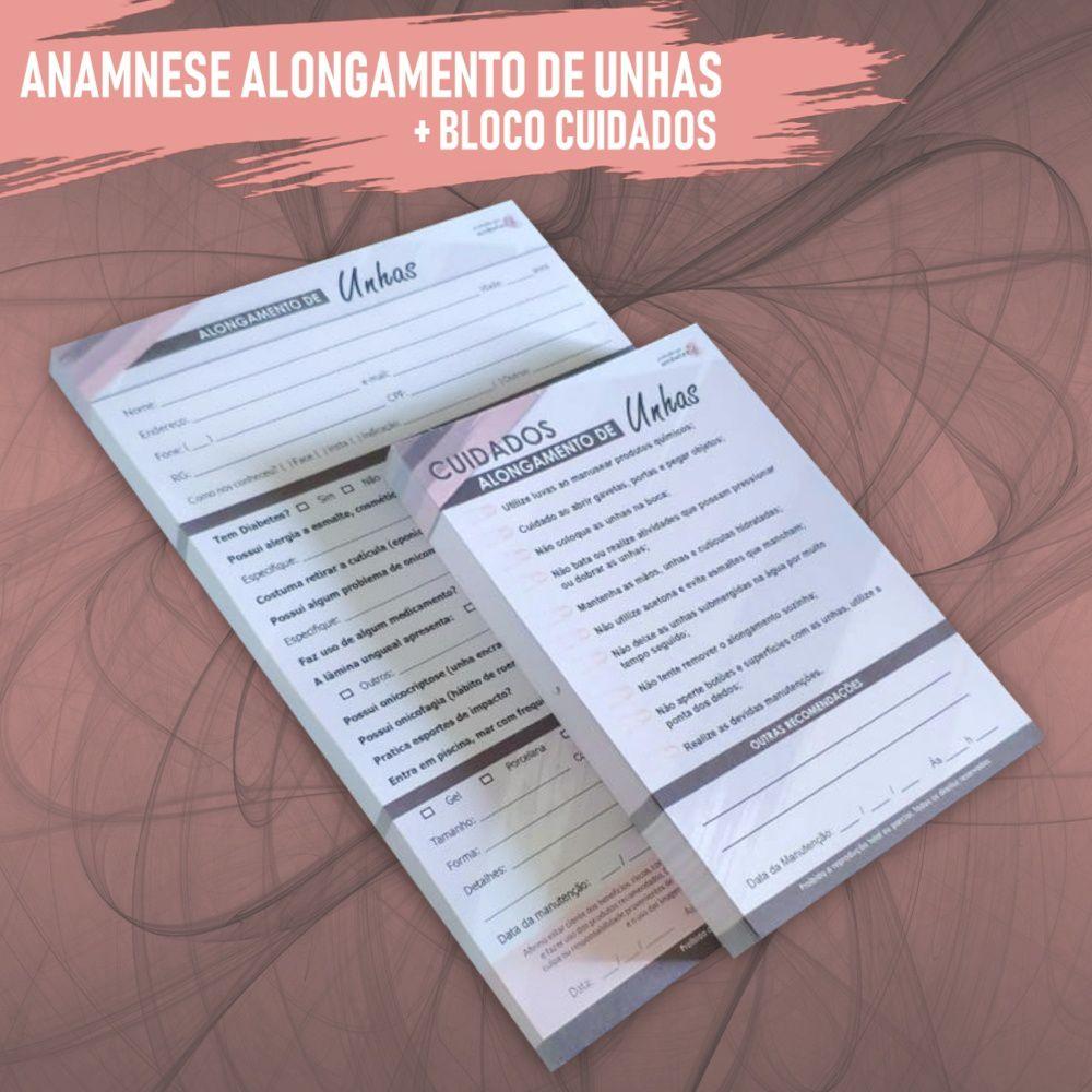 Ficha Anamnese Alongamento de Unhas + Cuidados Cliente - 100 Folhas - MARROM