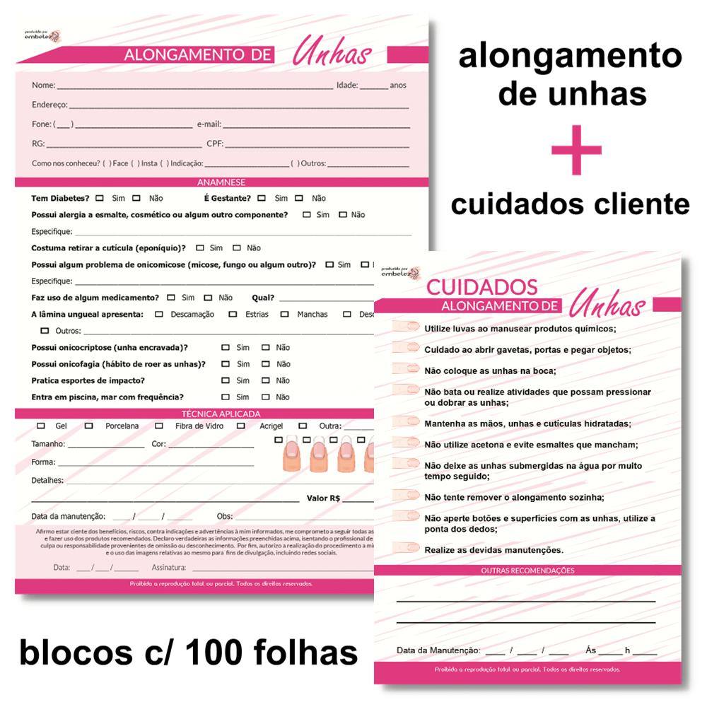 Ficha Anamnese Alongamento de Unhas + Cuidados Cliente - 100 Folhas - ROSA