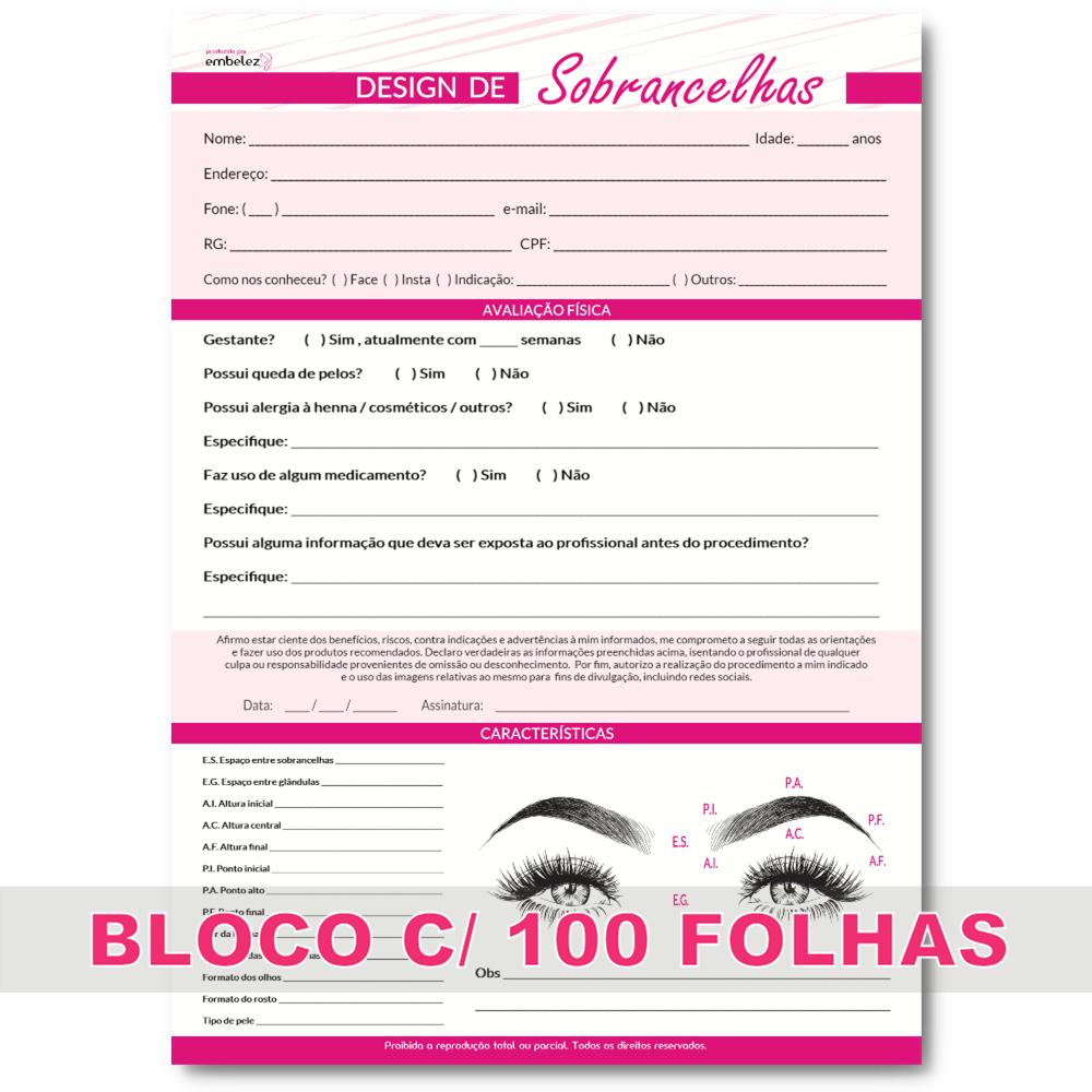 Ficha Anamnese Design De Sobrancelhas Bloco 100 Folhas Offset 90g