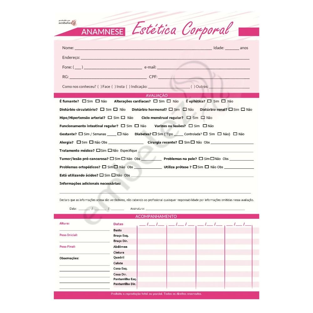 Ficha Anamnese Estética Corporal Avaliação Procedimento - Bloco 100 Folhas