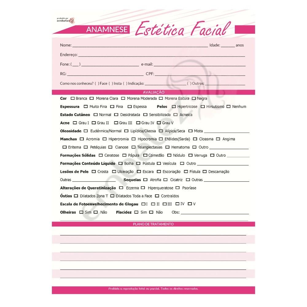 Ficha Anamnese Estética Facial Avaliação Procedimento - Bloco 100 Folhas