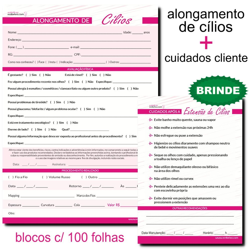 Ficha Anamnese Extensão De Cílios + Brinde Cuidados Cliente