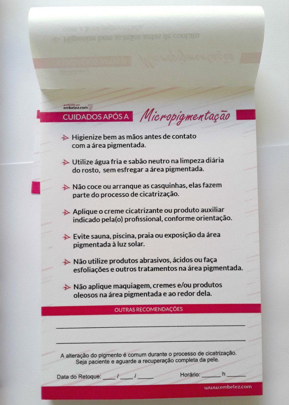 Ficha Anamnese Micropigmentação + Cuidados Cliente - 100 Folhas - ROSA