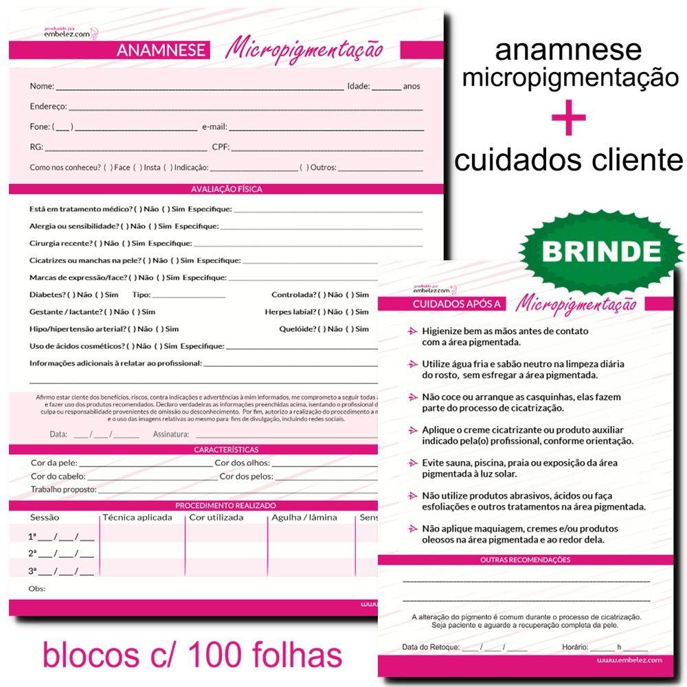 Ficha Anamnese Micropigmentação + Brinde Cuidados Cliente