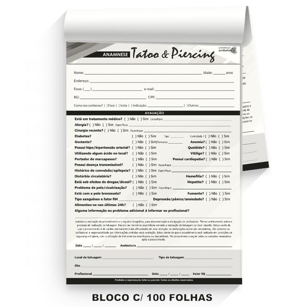 Ficha Anamnese Tattoo Tatuagem Piercing Avaliação - Bloco 100 Folhas