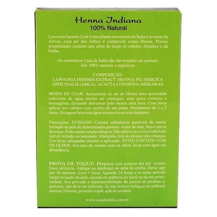 Henna Indiana 100% Natural Composta Herbal 100g Para Cabelo - Casa Da Índia