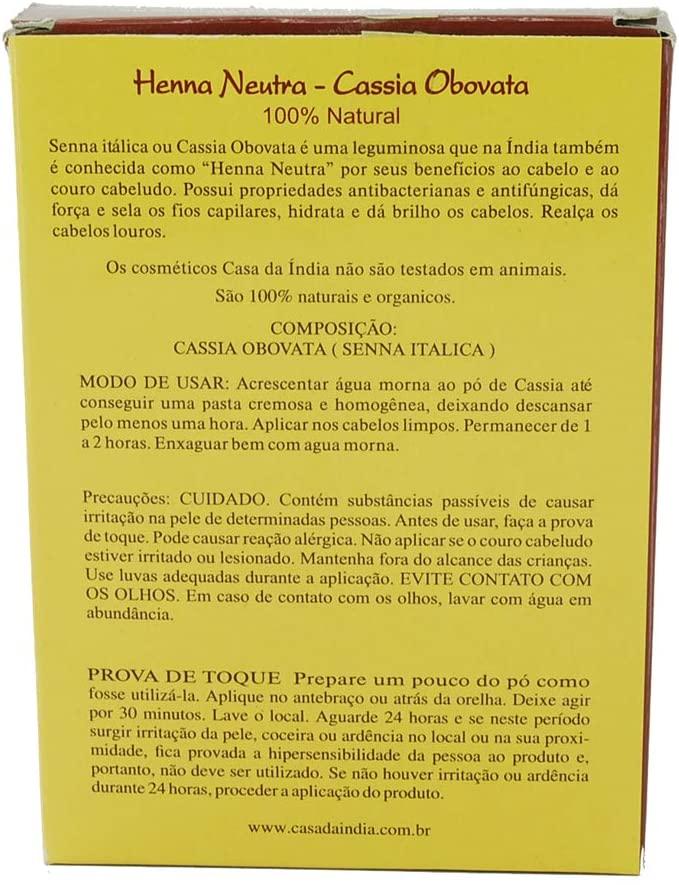 Henna Indiana Neutra 100% Natural Cassia Obovata 100g Para Cabelo - Casa Da Índia