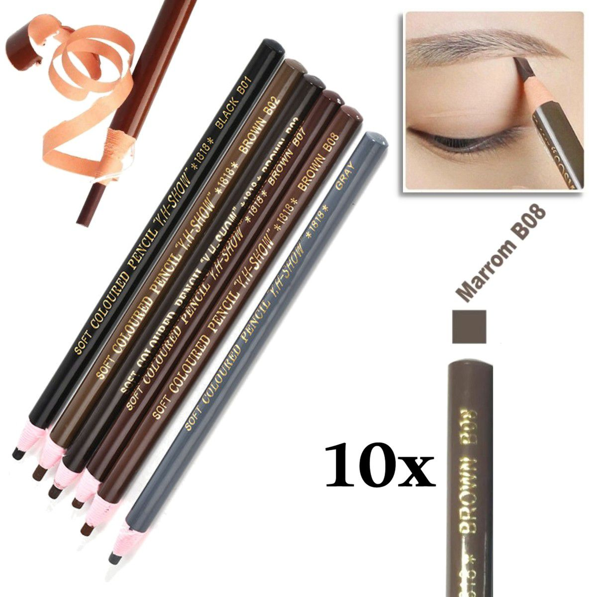 Kit 10 Lapis Dermografico Dermatografico Sobrancelhas Micropigmentação - Marrom Claro B08