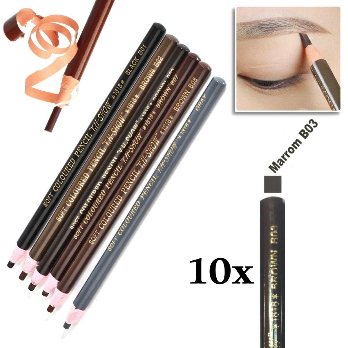 Kit 10 Lapis Dermografico Dermatografico Sobrancelhas Micropigmentação - Marrom Escuro B03