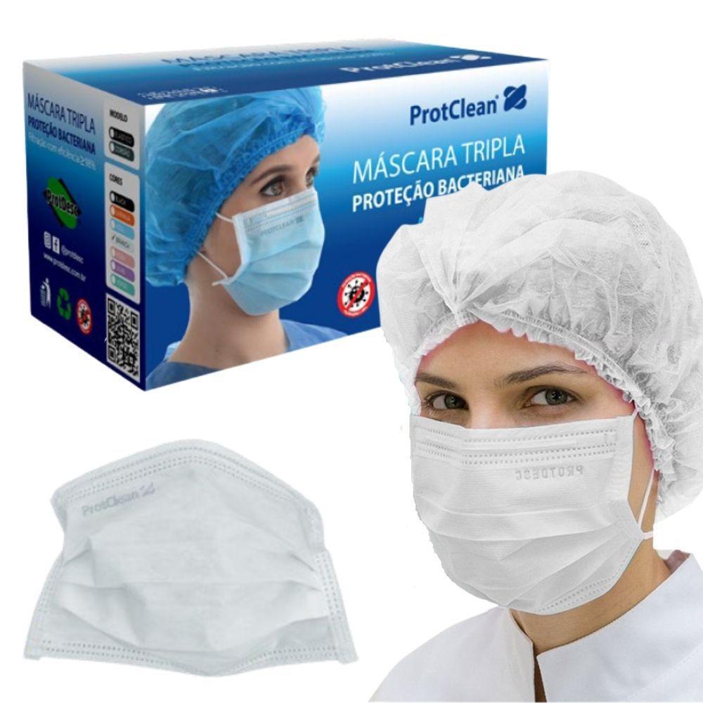 Kit 2 Caixas Máscara Descartável Tripla Camada ProtClean Branca - 100un