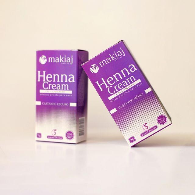 Kit 4 Henna Pronta em Creme Sobrancelha Makiaj Cream - Cores Castanhos + Preto
