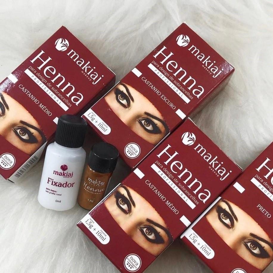 Kit 4 Henna Sobrancelha Efeito Natural Cores Castanhos + Preto  - Makiaj