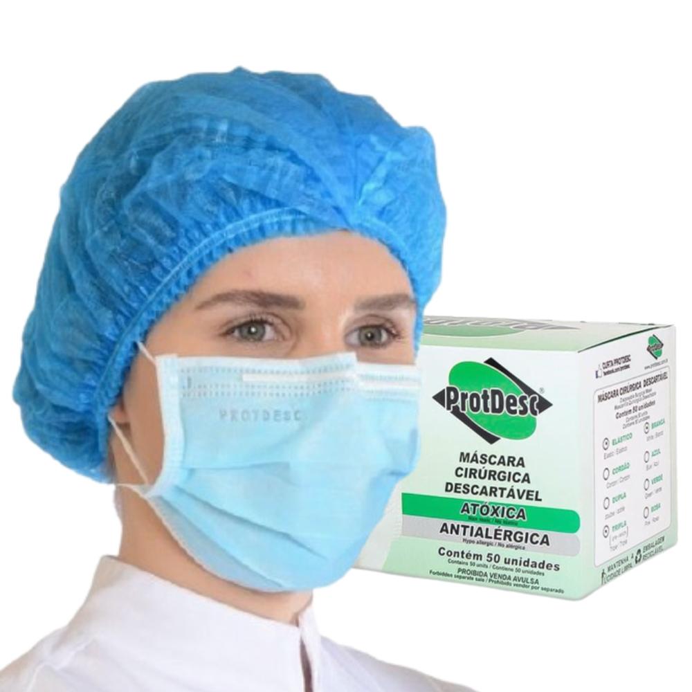 Kit 50un Mascara Tripla Proteção + 100un Touca Descartável ProtDesc - AZUL