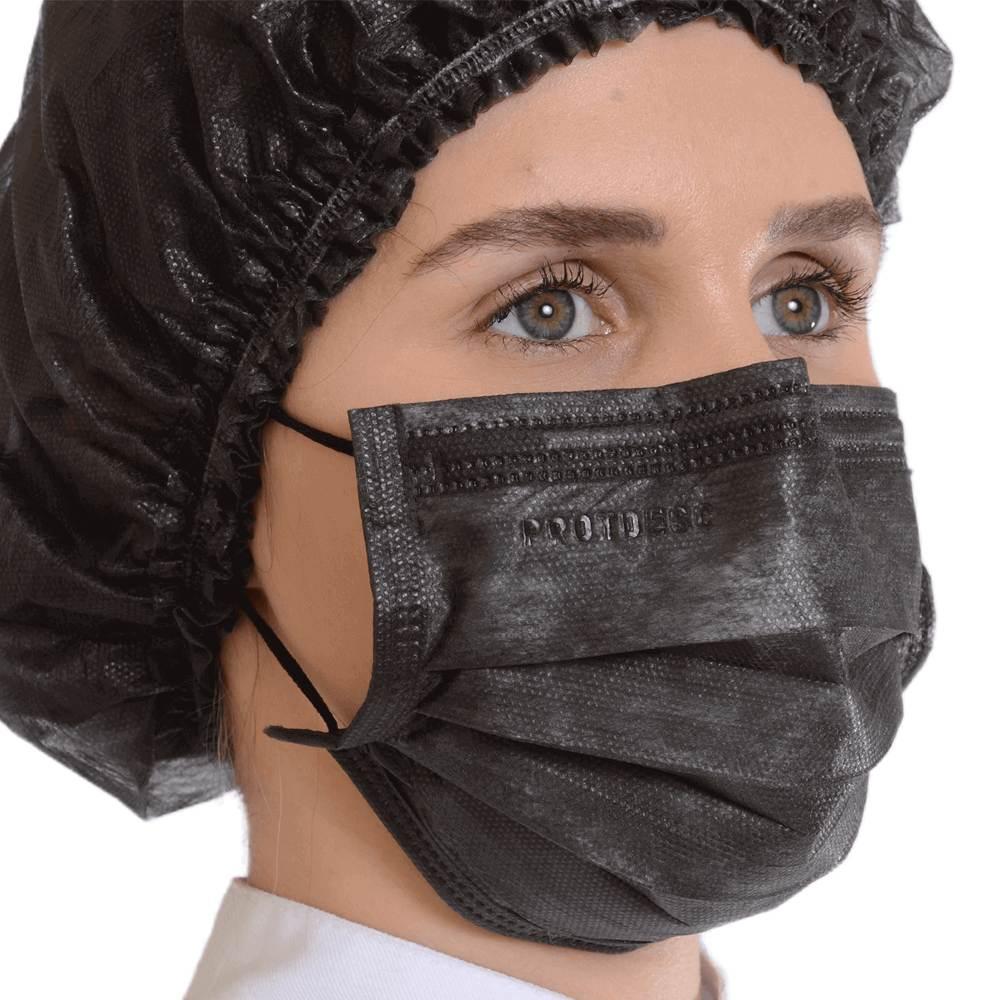 Kit 50un Mascara Tripla Proteção + 100un Touca Descartável ProtDesc - PRETO