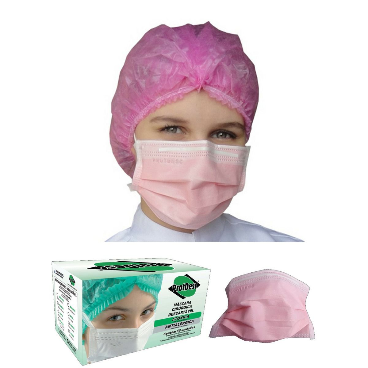 Kit 50un Mascara Tripla Proteção + 100un Touca Descartável ProtDesc - ROSA