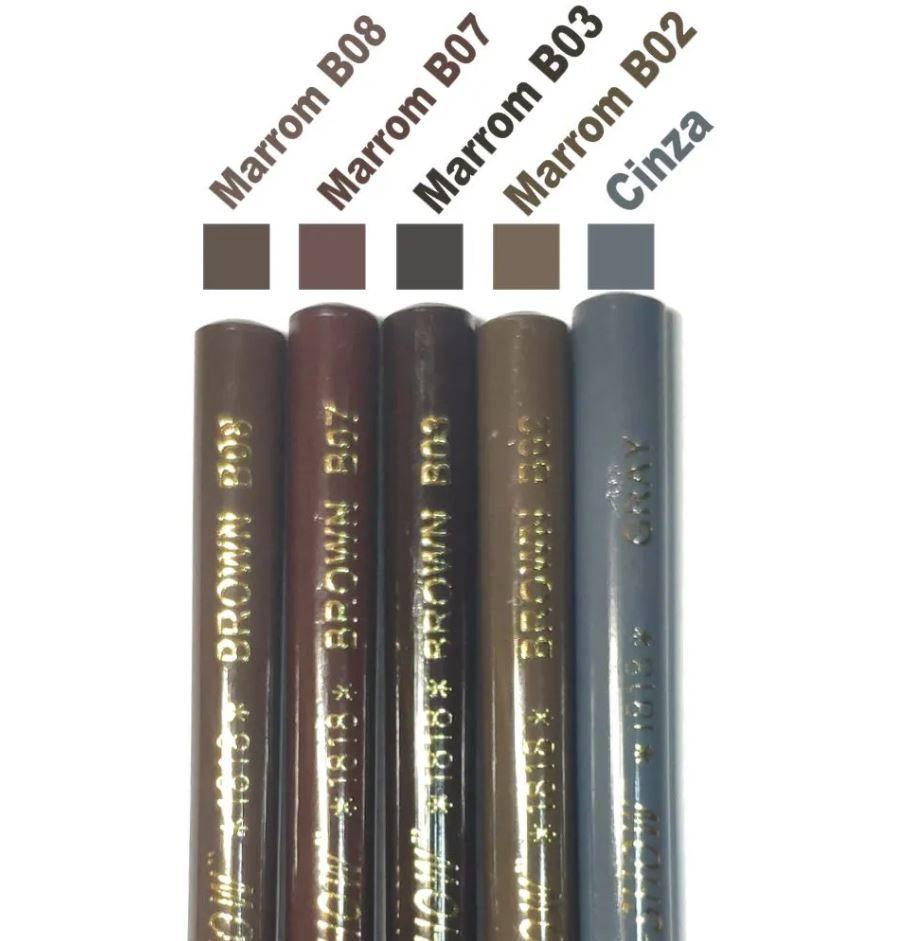 Kit 5 Lapis Dermografico Dermatografico Sobrancelhas Micropigmentação - Cores Diferentes