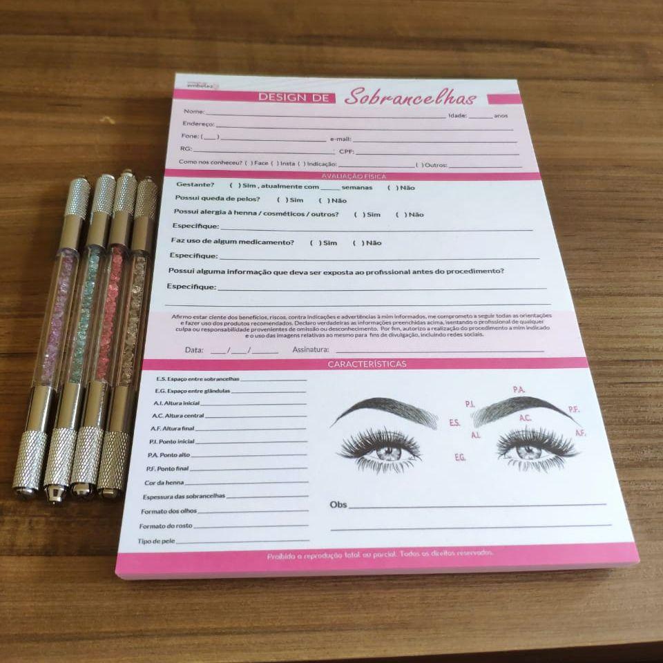 Kit Anamnese Micropigmentação + Cuidados Cliente + Design De Sobrancelhas