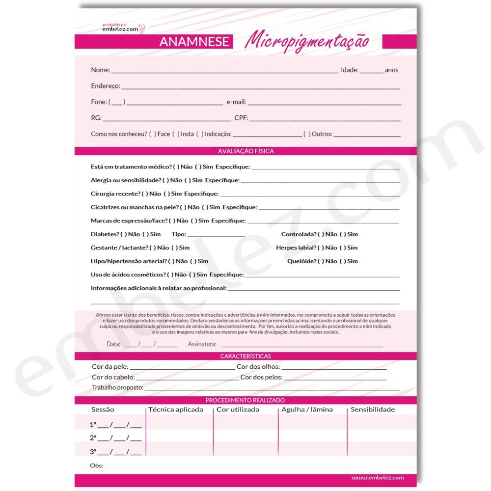 Kit Anamnese Micropigmentação + Extensão De Cílios + Cuidados Cliente