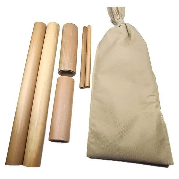 Kit Massagem Corporal em Madeira Bambu + Par de Pantalas - Victoria