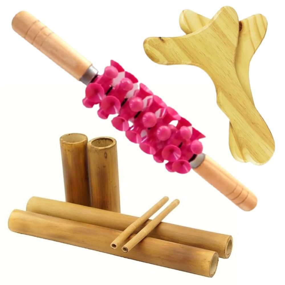 Kit Massagem Corporal em Madeira Bambu + Rolo + Pantalas - Victoria
