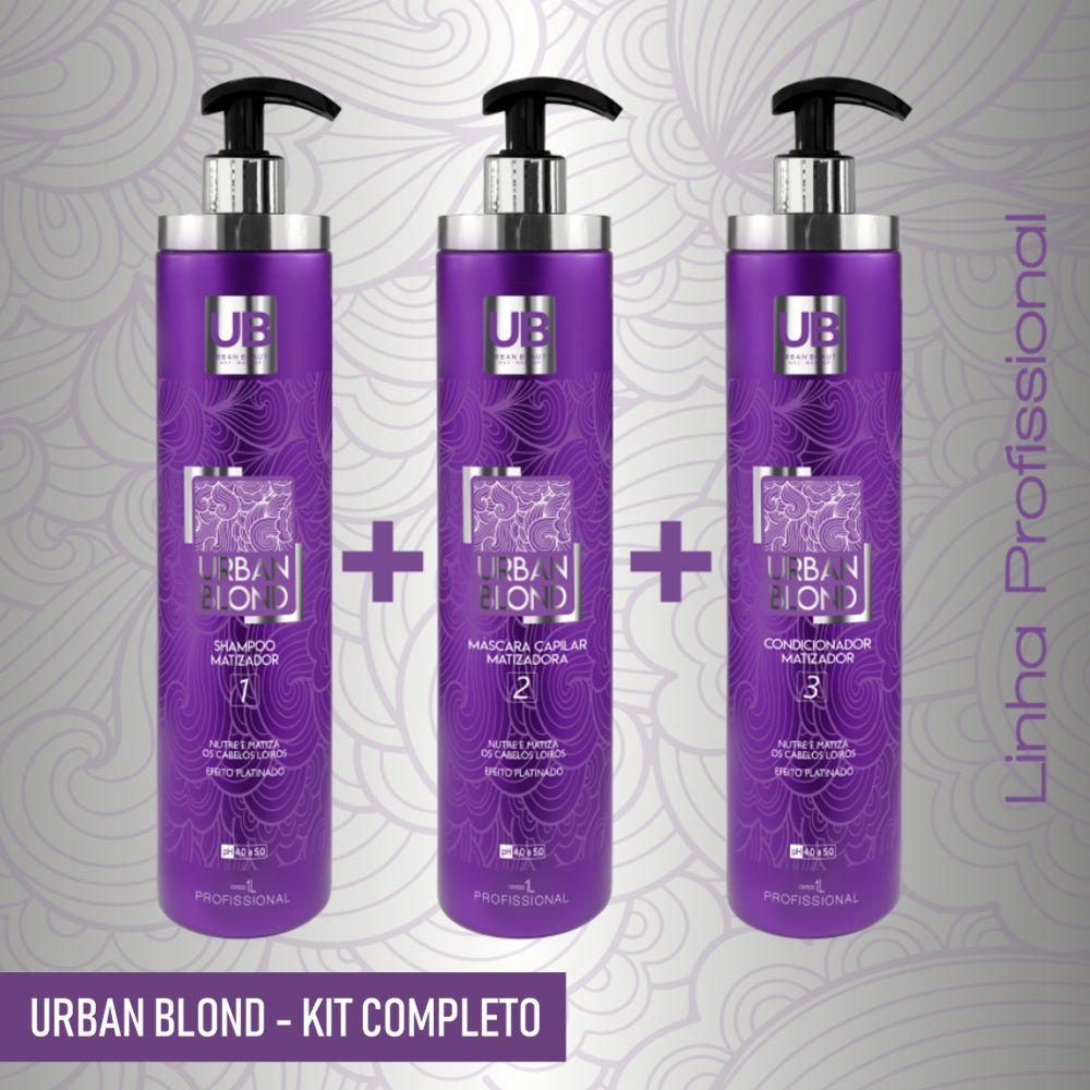 Kit Tratamento Matizador Cabelos Loiros Descoloridos Grisalhos Urban Blond - Profissional