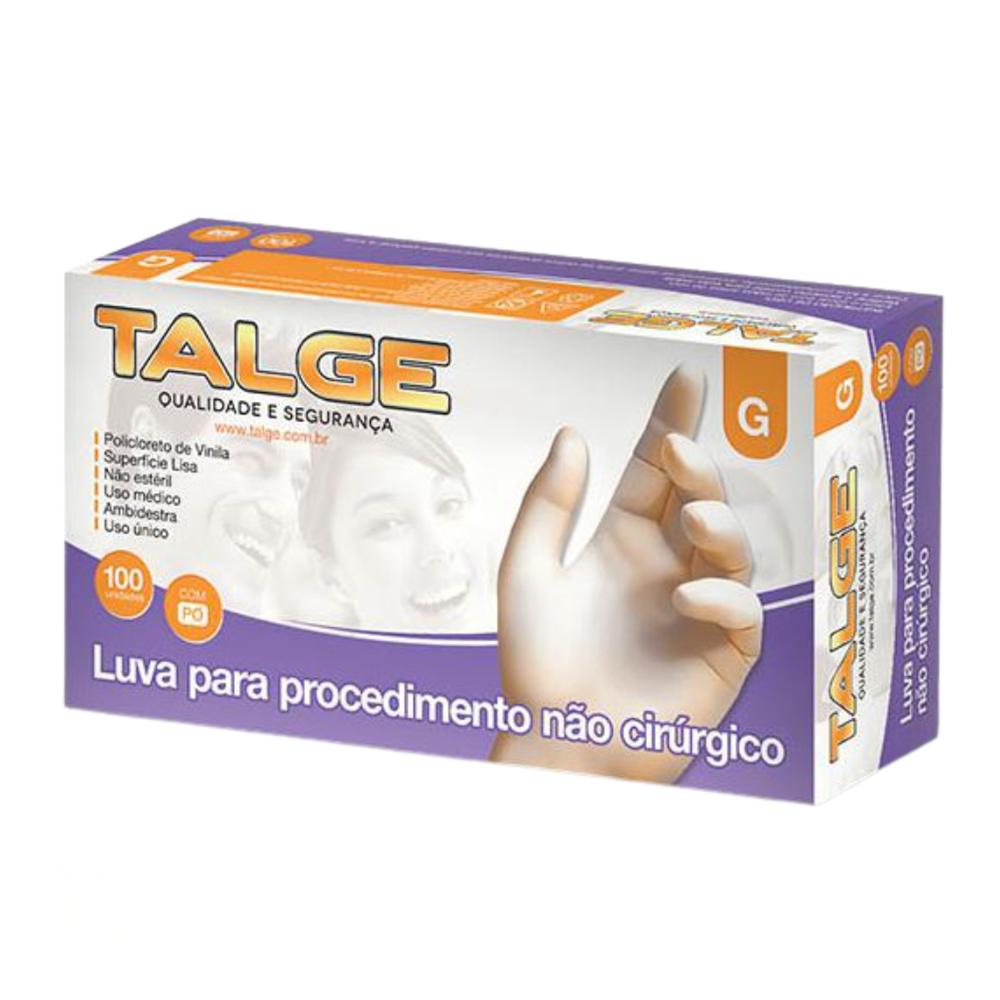Luva Vinil Procedimento Não Cirúrgico - Com Pó / Sem Pó - Talge - 100 Unidades