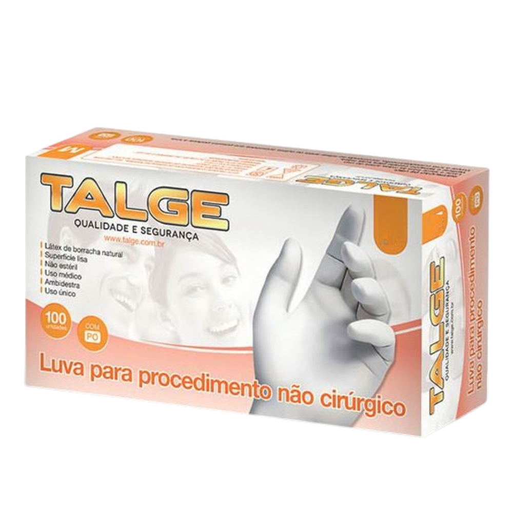 Luva Látex Procedimento - Com Pó / Sem Pó - Talge - 100 Unidades