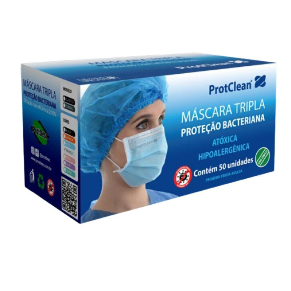 Máscara Descartável Tripla Camada ProtClean ProtDesc Branca - Caixa 50un