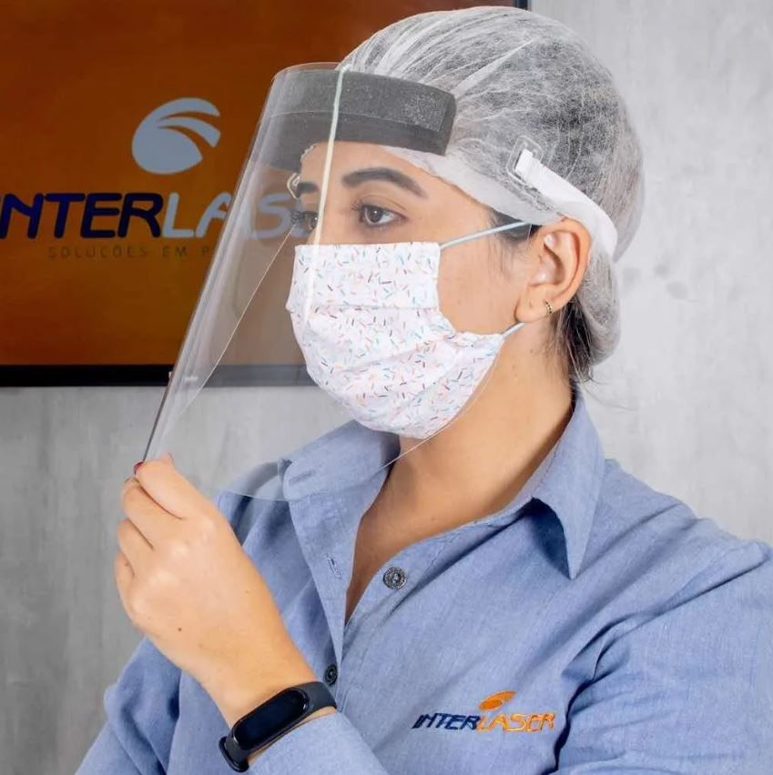 Máscara Facial Protetora Contra Respingos Face Shield Interlaser