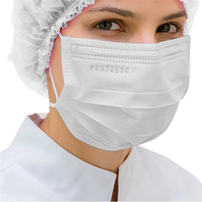 Máscara Tripla Proteção Bacteriana Descartável ProtDesc BRANCA - Caixa 50un