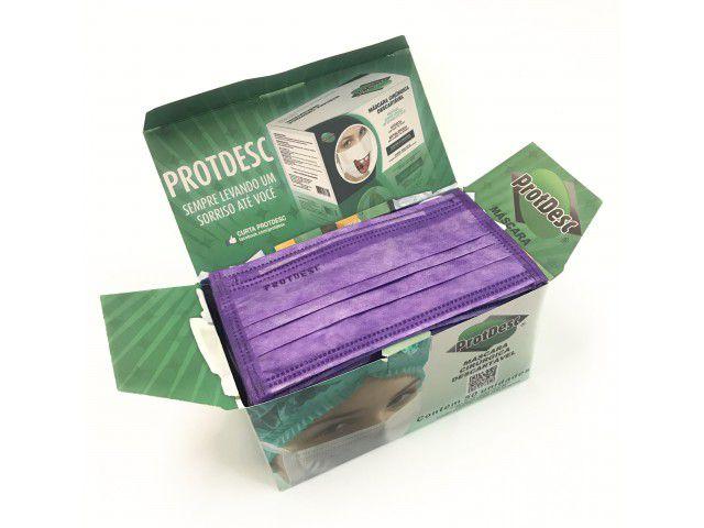 Máscara Tripla Proteção Bacteriana Descartável ProtDesc LILAS - Caixa 50un