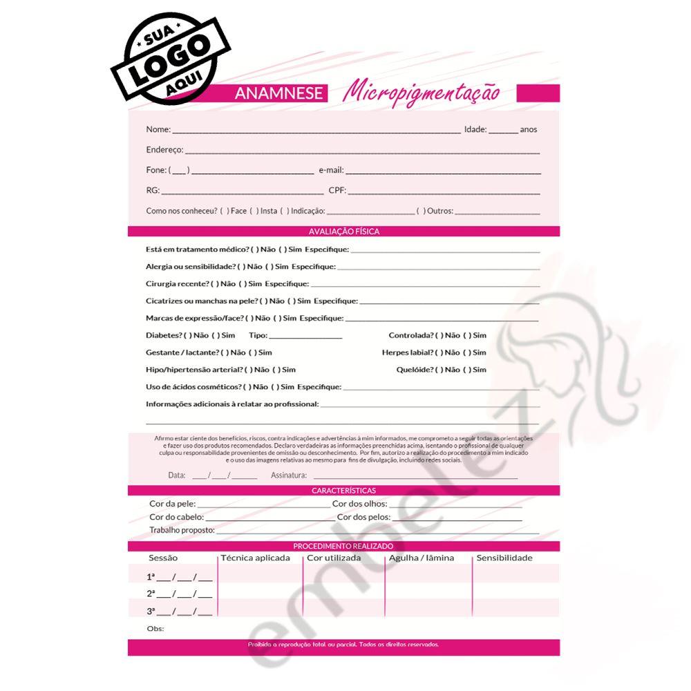 Personalize Sua Logo - Ficha Anamnese Micropigmentação + Cuidados Cliente - 10 Unidades