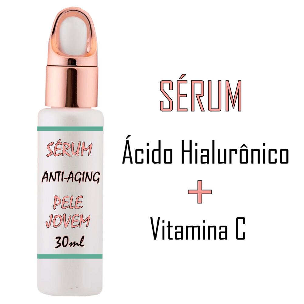Sérum Vitamina C + Ácido Hialuronico Pele Jovem Antirrugas - 30ml