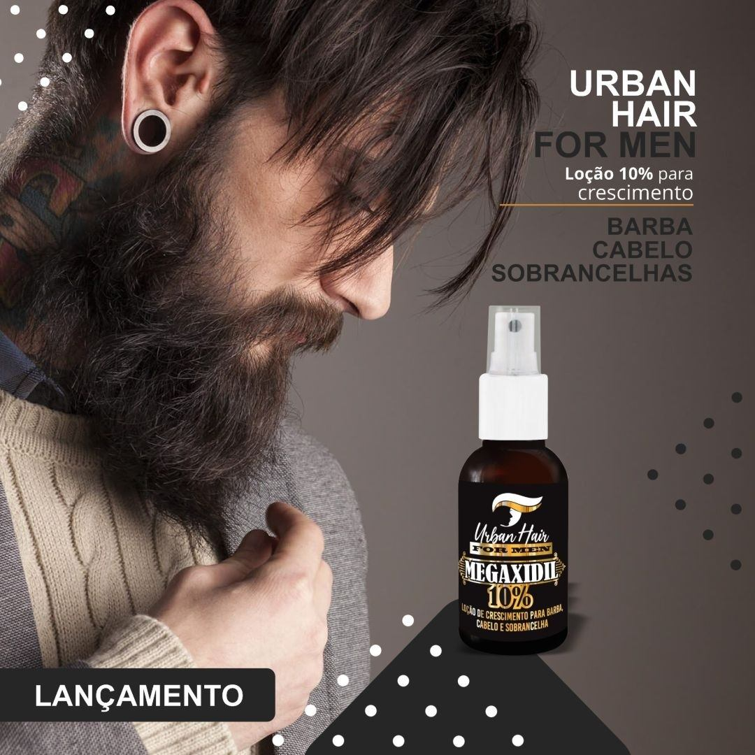 Tônico Loção Crescimento Cabelo Barba Megaxidil 10% Urban Hair - 30ml