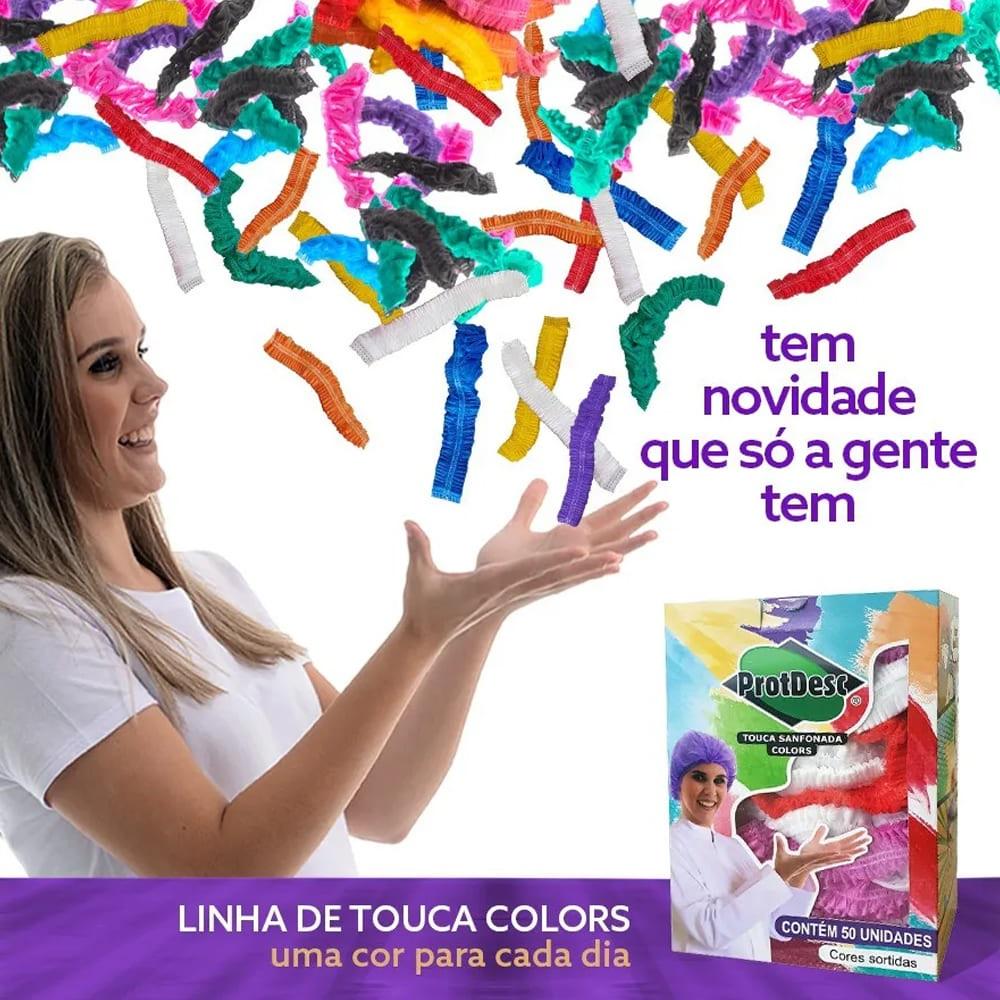Touca Sanfonada COLORIDA Colors Cores Variadas 50un ProtDesc