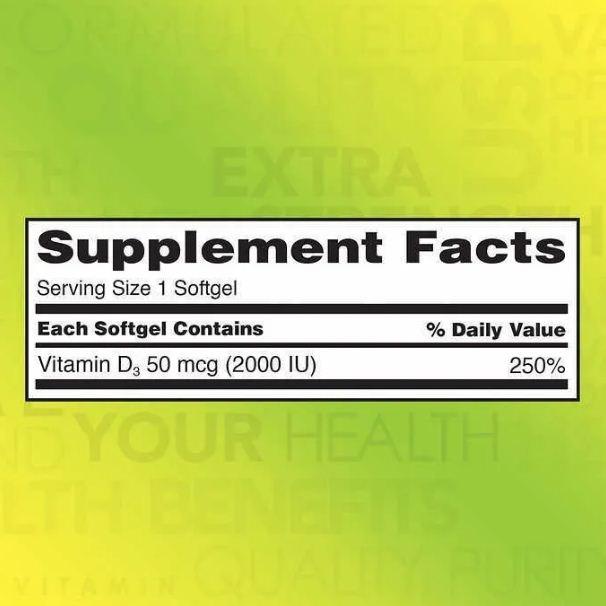 Vitamina D3 Kirkland 50mcg Sol Importado Usa - 600 Cápsulas