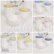 Kit de Potes   Branco com Poás coloridos e Tampas a escolher  - P08