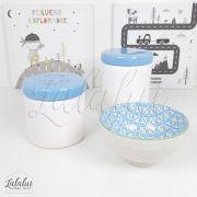 Kit de Potes   Branco e Azul - P19