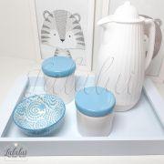 Kit Higiene Azul e Branco K51 (Quarto de Menino e Menina)