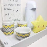 Kit Higiene Branco com Chevron Cinza e Amarelo  K07 (Quarto de Menino e Menina)