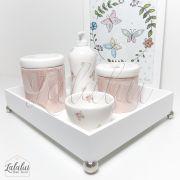 Kit Higiene Branco e Rosa Perolado com Floral  K22 (Quarto Menina)