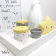 Kit Higiene Cinza, Branco e Amarelo com Poá  K50 (Quarto de Menino e Menina)