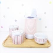 Kit Higiene   Listras e Floral Rosa com Bandeja de Bambu e Garrafa Alinhavada (LA2325)